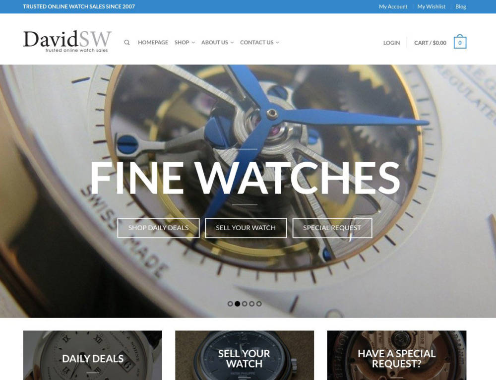 DavidSW Luxury Watches Website Design